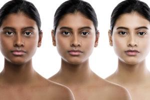 肌が黒い人や肌が白い人
